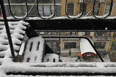 Photograph - Orange Umbrella - Winter In New York by Miriam Danar
