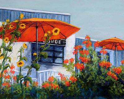 Orange Umbrellas Art Print by Candy Mayer