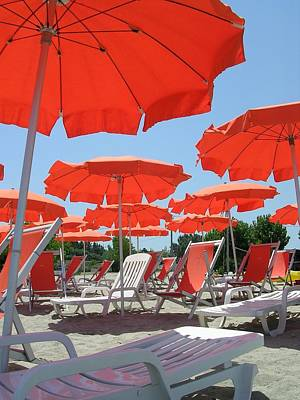 Photograph - Orange Umbrellas by Caroline Stella