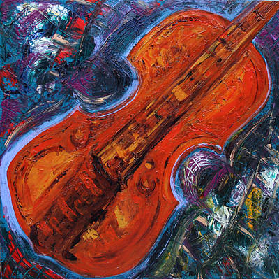 Painting - Orange Violin II  by Oscar Penalber