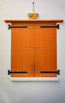 Photograph - Orange Wooden Shuttered Window by James Hammond