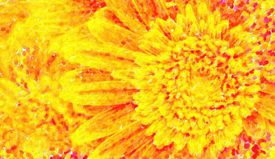 Gerber Daisy Painting - Orange Yellow Gerber Daisies Macro Art by MotionAge Designs