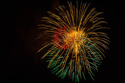Photograph - Orange Yellow Green Fireworks Galveston by Jason Brow