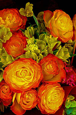 Gold Lime Green Photograph - Orange Yellow Rose Pouquet by Linda Phelps