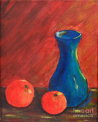 Painting - Oranges And A Vase by Melvin Turner