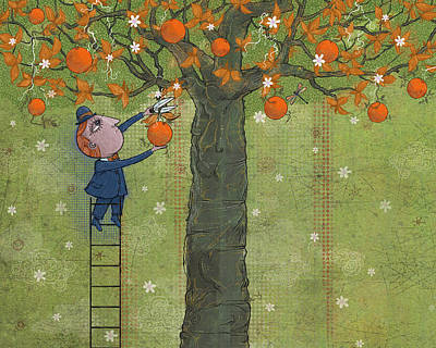 Oranges And Dragonfly Three Art Print