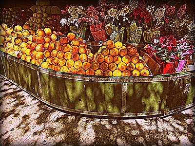 Art Print featuring the photograph Oranges And Flowers by Miriam Danar