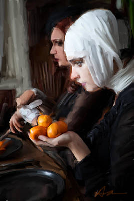 Dinner Painting - Oranges by H James Hoff