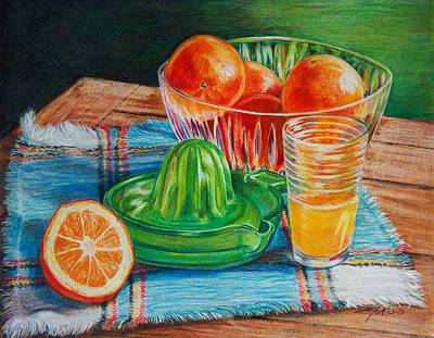 Still Life Drawings - Oranges by Joy Nichols