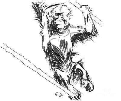 Monkeys Painting - Orangutan 3 by Go Van Kampen