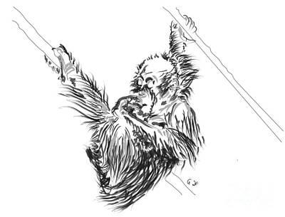 Orangutan Painting - Orangutan Baby 2 by Go Van Kampen