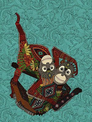 Ape Painting - Orangutans Blue by Sharon Turner