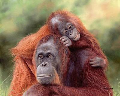 Mother And Baby Painting - Orangutans Painting by Rachel Stribbling