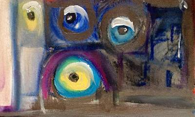 Abstract Sights Painting - Orb Orb Eye Eye by Judith Desrosiers