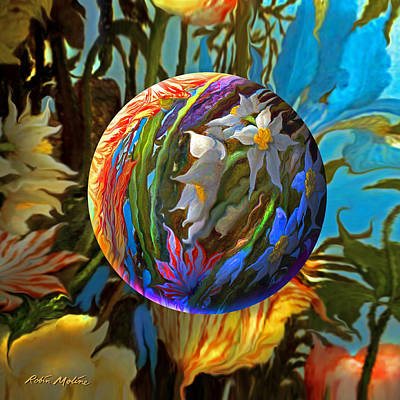 Tropical Digital Art - Orbing Aloha Lei by Robin Moline