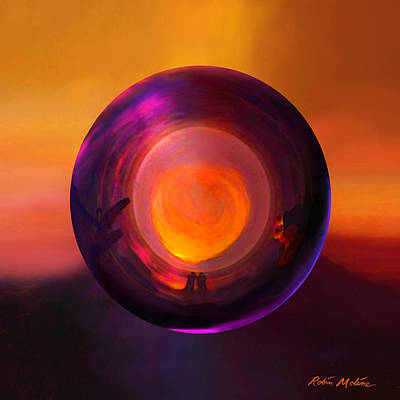 Sunset Abstract Painting - Orbing An Evening Sunset by Robin Moline