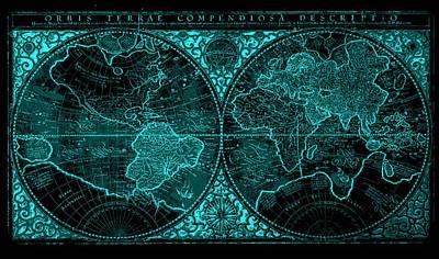 Whaling Drawing - Orbis Terrae Compendiosa Descriptio By Mercator 1587 Aqua Negative by L Brown
