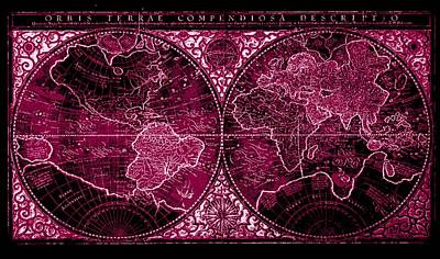 Whaling Drawing - Orbis Terrae Compendiosa Descriptio By Mercator In 1587 Ad Negative Violet Burgundy  by L Brown