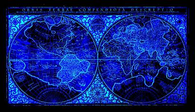 Whaling Drawing - Orbis Terrae Compendiosa Descriptio World Map 1578 Ad By Mercator Negative Blue by L Brown