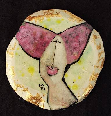 Disk Painting - Orbis Woman With Pink Hair  by Mark M  Mellon