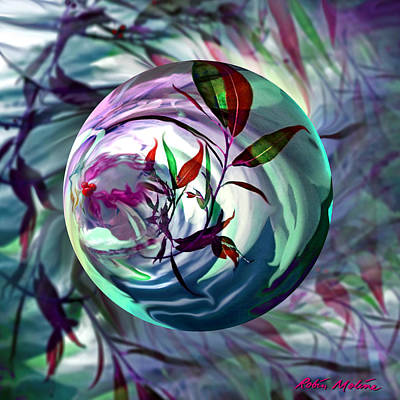 Round Digital Art - Orbiting Cranberry Dreams by Robin Moline