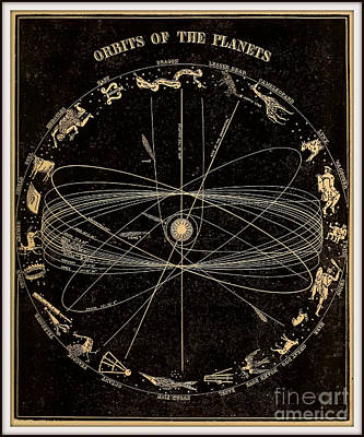 Planet System Drawing - Orbits Of The Planets Circa 1855 by Asa Smith