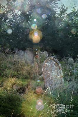 Orbs In Overgrown Cemetery Print by Jill Battaglia