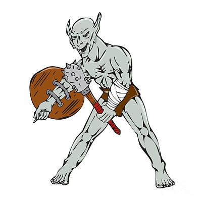 Goblin Digital Art - Orc Warrior Hold Club Shield Cartoon by Aloysius Patrimonio
