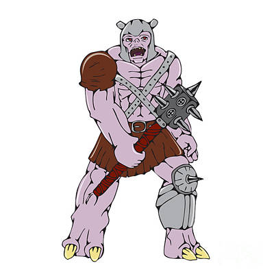 Goblin Digital Art - Orc Warrior Holding Club Front Cartoon by Aloysius Patrimonio