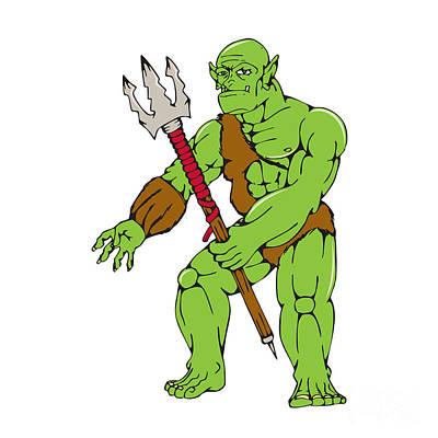 Goblin Digital Art - Orc Warrior Monster Trident Cartoon by Aloysius Patrimonio