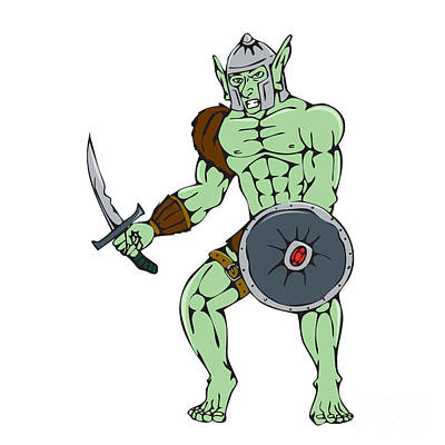 Sword Cartoon Digital Art - Orc Warrior Sword Shield Cartoon by Aloysius Patrimonio