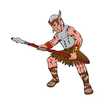 Goblin Digital Art - Orc Warrior Thrusting Spear Cartoon by Aloysius Patrimonio