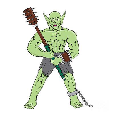 Goblin Digital Art - Orc Warrior Wielding Club Cartoon by Aloysius Patrimonio