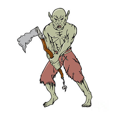 Goblin Digital Art - Orc Warrior Wielding Tomahawk Cartoon by Aloysius Patrimonio