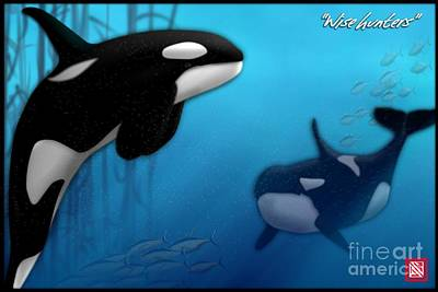 Digital Art - Orca Killer Whales by John Wills
