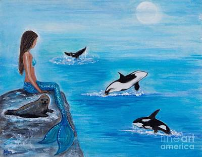 Painting - Orca Play Day by Leslie Allen