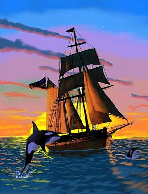 Orcas At Sunset Art Print by Brad Simpson