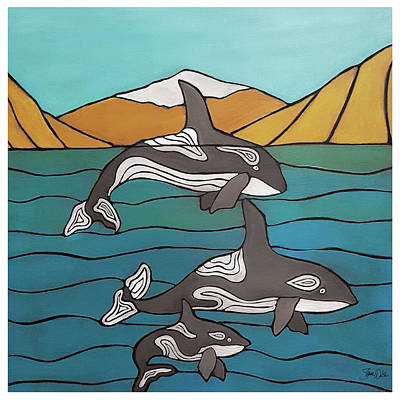 Orca Painting - Orcas In The Bay by Shanni Welsh