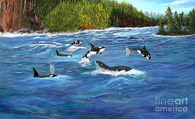 Orcas Art Print by Myrna Walsh