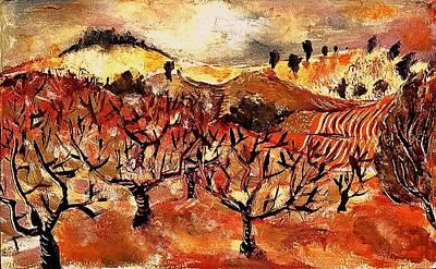 Fruit Tree Art Painting - Orchards Near Lugoj Romania by Ion vincent DAnu