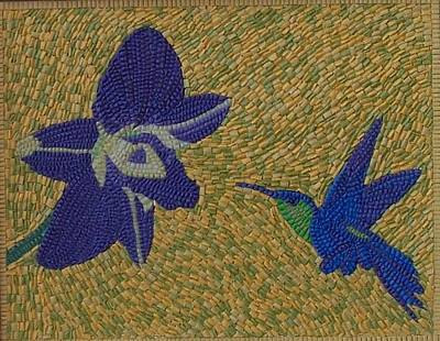 Micro Mosaic Mixed Media - Orchid And Hummingbird by Paul London
