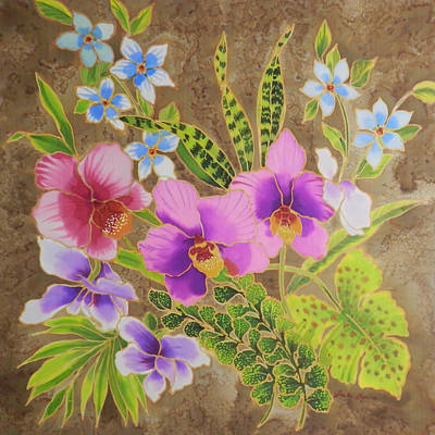 Orchid Bouquet On Silk Art Print by Leslie  Rogers Todder
