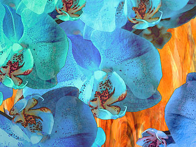 Free Form Mixed Media - Orchid Cascade by Lynda Lehmann