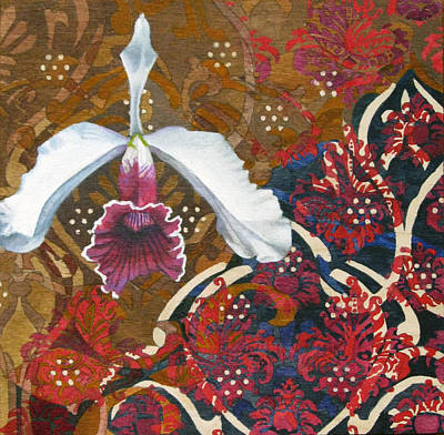 Dignified Painting - Orchid Fuschia On Brown by Sadeyedartist Baltimore
