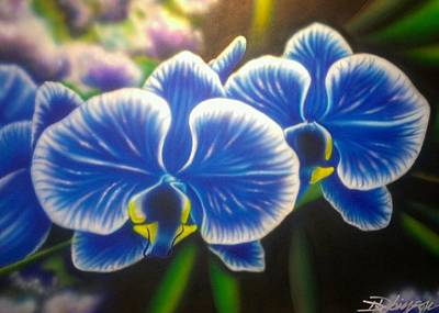 Painting - Orchid-strated Blues by Darren Robinson