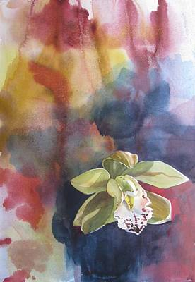 Orchid With Abstraction Art Print by Alfred Ng
