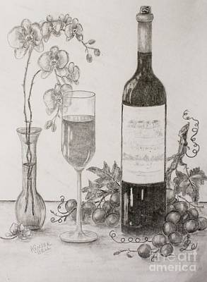Orchids And Wine Original by Marlene Kinser Bell