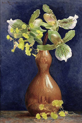 Orchids In A Copper Vase, 1881 Art Print by Helen Thornycroft