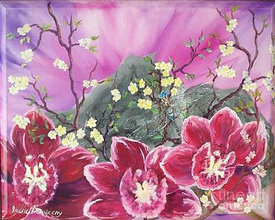 Painting - Orchids With Dragonfly by Irene Pomirchy
