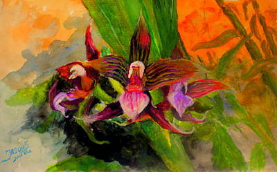 Mangrove Forest Painting - Orchiid by Jason Sentuf